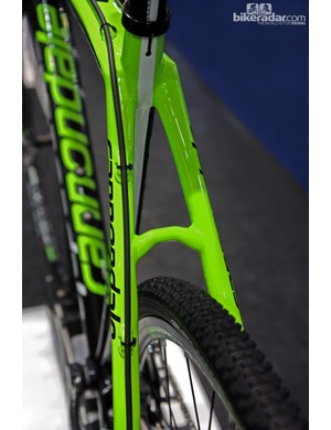 Cannondale director of product marketing Murray Washburn says the new SuperX Hi-Mod Disc frame is more comfortable than the standard rim brake version since the seat stays no longer had to cope with braking forces up top