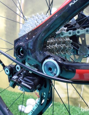 The X-12 axle compatible dropout is full carbon
