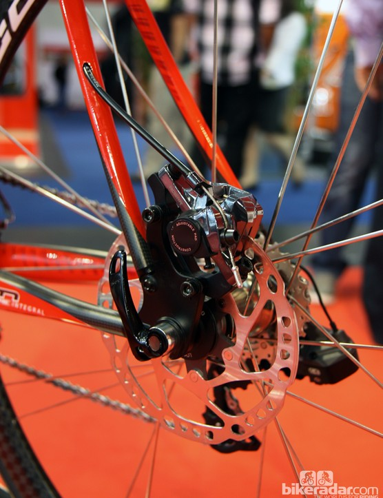The rear brake on Time's Fluidity disc road prototype was bolted to a chunky aluminum plate dropout