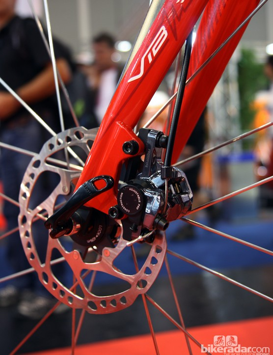 Time's Fluidity disc-equipped road prototype was built with IS tabs on the fork
