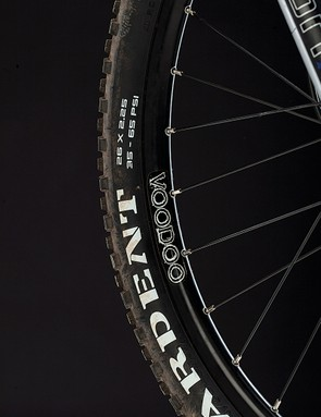 Maxxis Ardent tyres take the sting out of the frame and provide excellent grip