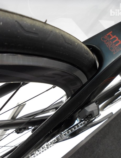 The rear seat stays closely cowl the rear wheel but there's a deep channel on the inside, and on the inside of the seat tube, to reduce turbulence on the Volt