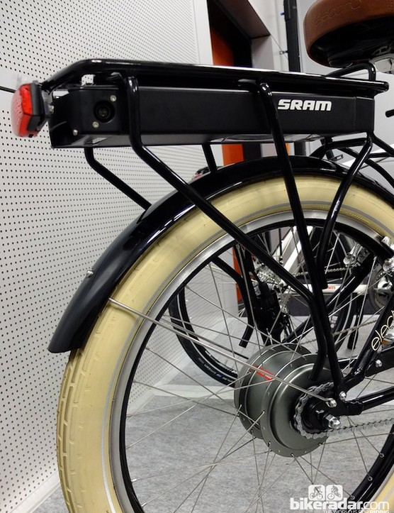 The E-matic automatic hub gear with rack-mounted battery pack