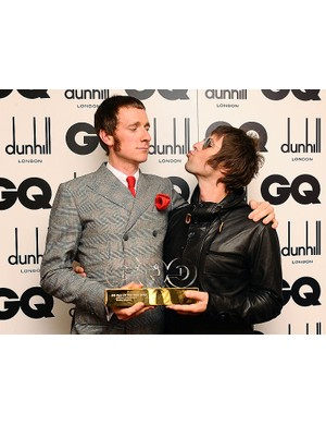 Bradley Wiggins collected his GQ Lifetime Achievement award from former Oasis frontman Liam Gallagher