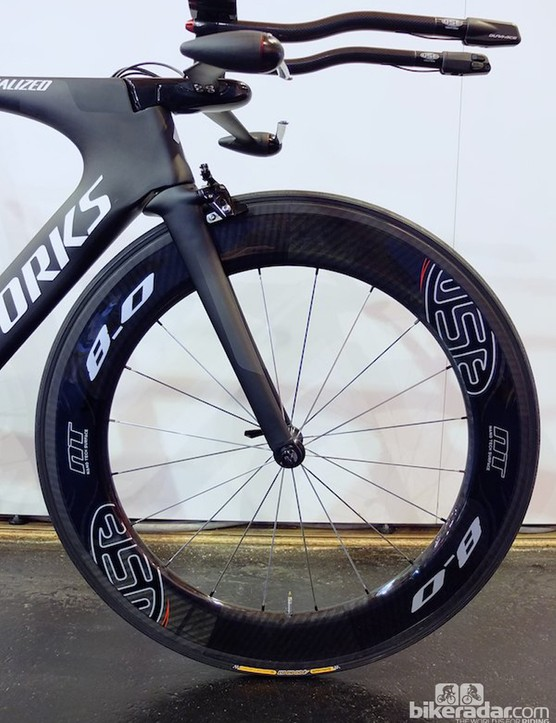 A side view of the 8.0 front wheel and R1 bar