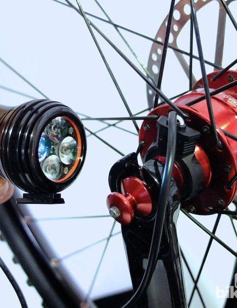 The Revo front light connected to a MTB dynamo hub