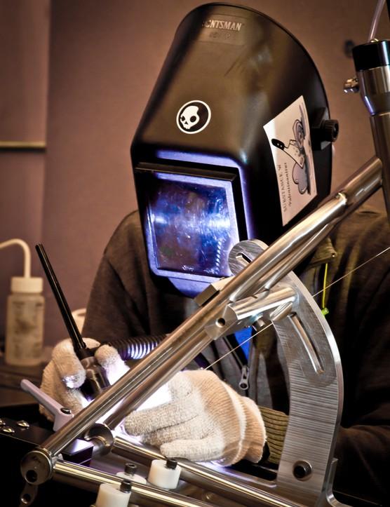 A welder in Moots' Colorado facility