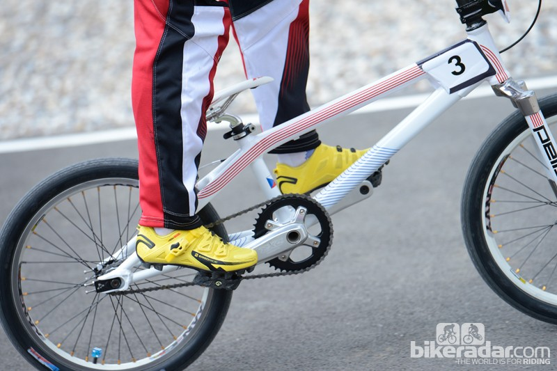 BMX bikes built for racing will be much lighter than freestyle bikes, allowing riders to speed and pop along the track