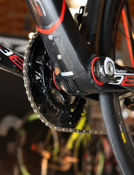 The bottom bracket area of Wilier Tristina's new Cento 1 SR features press-fit BB386 EVO bearing cups and a dedicated battery mount