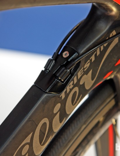 The removable cable port on Wilier Triestina's new Cento 1 SR can also be swapped out for a dedicated electronic unit