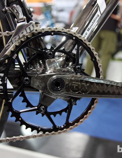 The AX-Lightness Morpheus carbon fiber crank has a claimed weight of 380g for the arms and bottom bracket