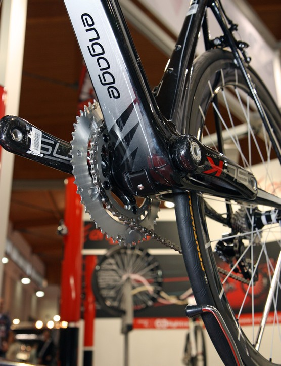 The internally routed cables on Engage's Clade frame peek out down at the bottom bracket, for easier servicing