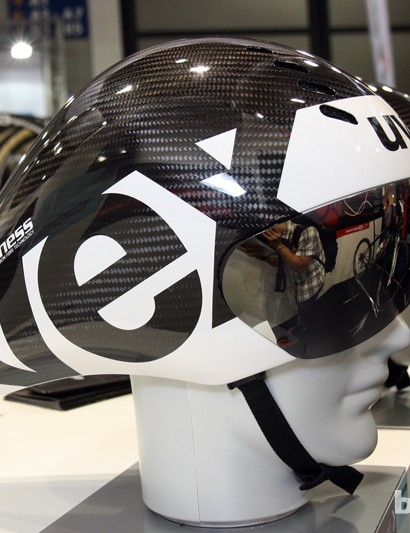 AX-Lightness says its prototype carbon fiber time trial helmet - built in cooperation with Uvex - has already been raced at the Tour de France, the Olympics and the Vuelta