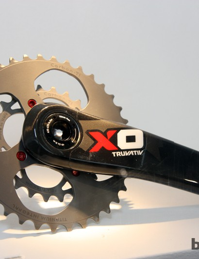 Carbon-Ti makes these ultralight titanium 2x chainring sets with carbon fiber reinforcements for riders looking to shave a few grams from their stock setups