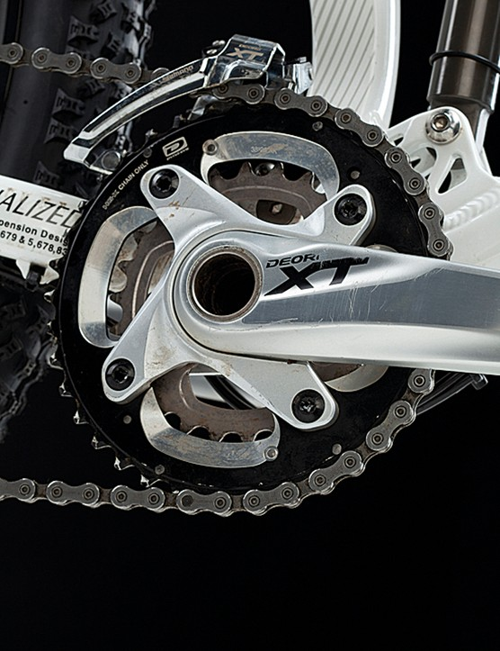 Excellent Shimano XT kit drives the bike via a double ring chainset
