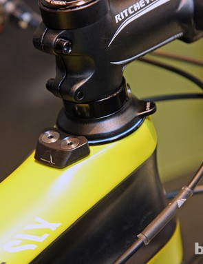 Canyon's new Grand Canyon CF SLX 29 carbon 29er hardtail integrates a cleverly compact fork stop into the top tube and headset to prevent frame damage in a crash