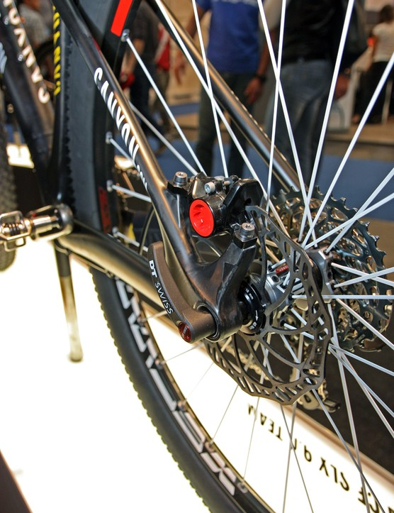 Canyon includes carbon fiber post mount brake caliper tabs on the rear end of its new Grand Canyon CF SLX 29 carbon 29er hardtail