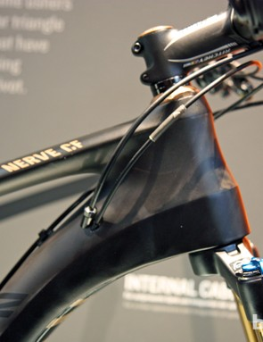 Canyon pushes the top tube and down tube as far apart as possible on the new Nerve CF's tapered head tube