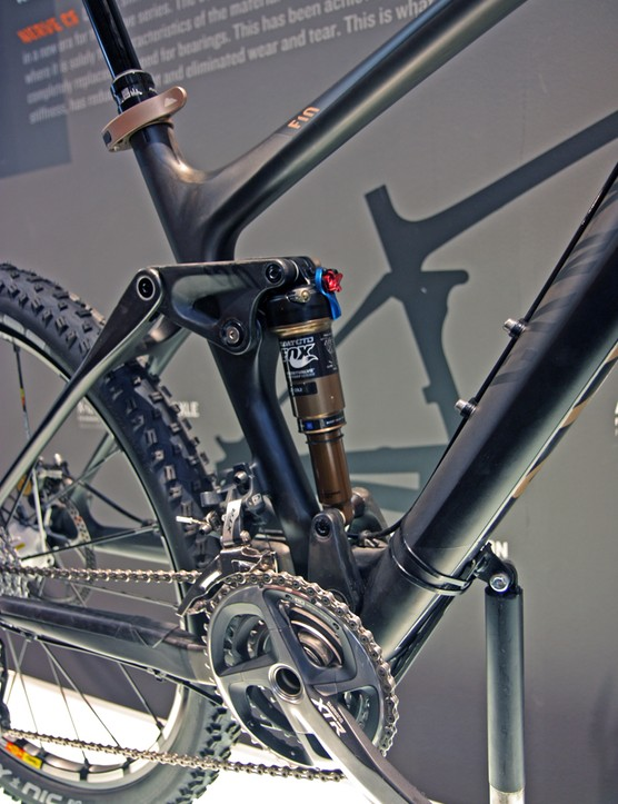 The rear shock on Canyon's new Nerve CF floats between two dynamic mounts