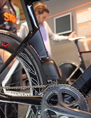 Canyon showed these front and rear derailleur shrouds for triathletes looking for every bit of aerodynamic edge