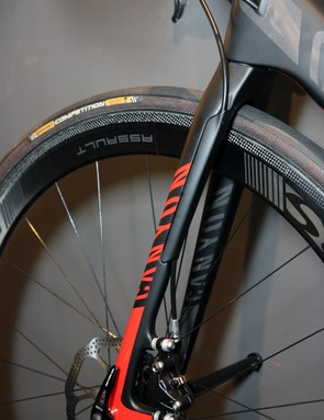 The fork on Canyon's prototype Ultimate CF SLX Disc features a neat solution for routing the hose