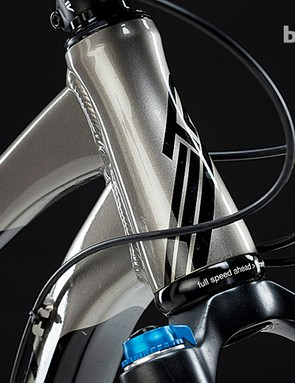 The tapered head tube enjoys massive welds and thick tubing for huge stiffness