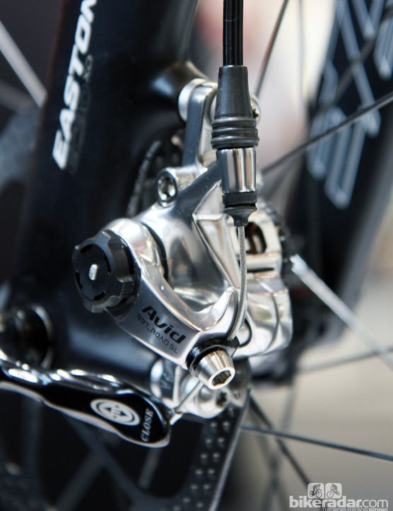 Avid's new BB7 Road SL mechanical disc brake is based on the standard BB7 Road model but with a sleeker finish, titanium hardware, and alloy-backed organic brake pads