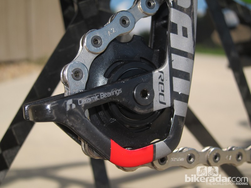 The rear derailleur pulleys rotate on hybrid ceramic bearings. We're disappointed that SRAM hasn't integrated the excellent Gutter seal technology from its newer bottom brackets, though