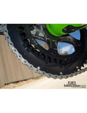 The outer chainring is thicker and stouter than before for improved shift performance