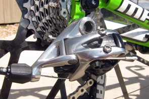 The new SRAM Red rear derailleur still rattles off shifts with outstanding precision and consistency but it's now sleeker and lighter. Not everyone will appreciate the giant 'SRAM' logo on the carbon fiber cage, though