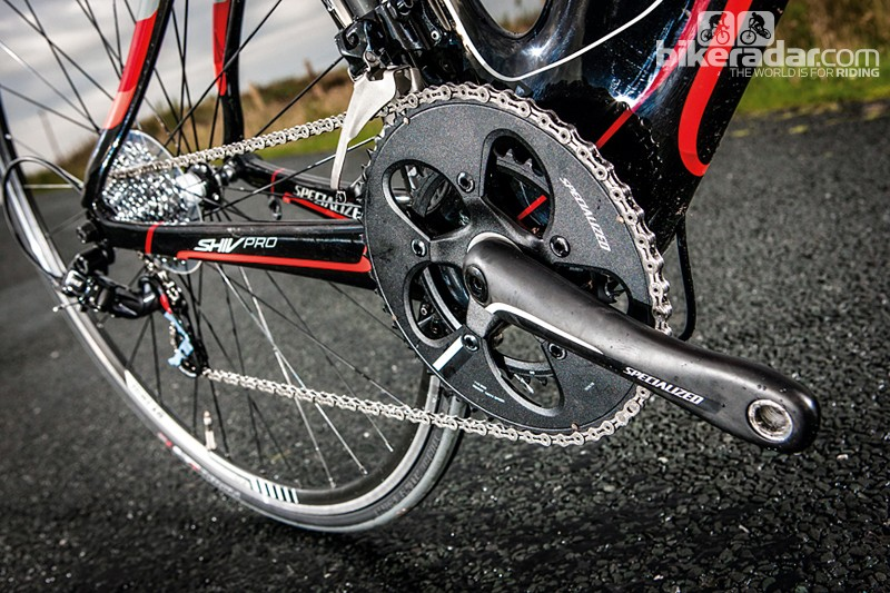 Specialized's carbon crank is stiff and light, with a wide ring ratio for rolling terrain