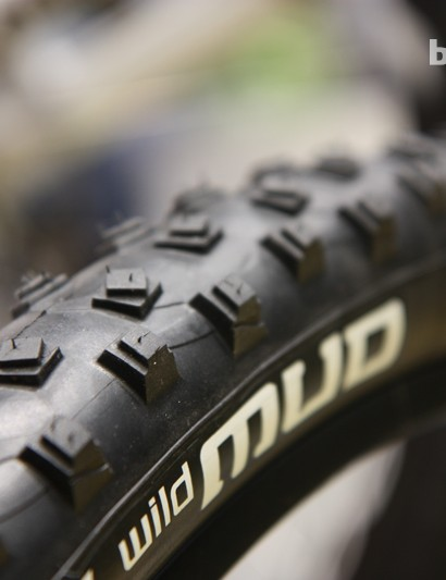 According to Michelin product manager Rudy Megevand, the new Wild Mud tire's stepped knobs pierce through soft muck like a pointier knob but with better support at the base. The twisted center knobs supposedly straighten out as they roll on the ground and then spring back, offering some measure of self-cleaning