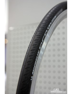 Michelin says the new Pro4 Grip provides 15 percent better wet traction than the standard Pro4, plus better puncture resistance thanks to a new Twaron breaker belt