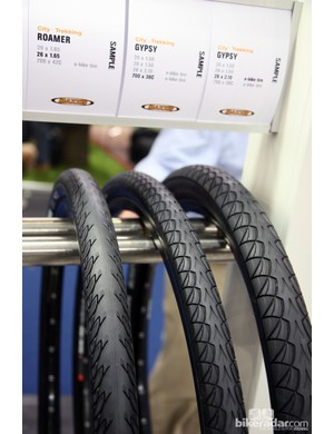 One hot trend at Eurobike was e-bike tires, such as these options from Maxxis. The primary touted benefit was lower rolling resistance to improve battery range