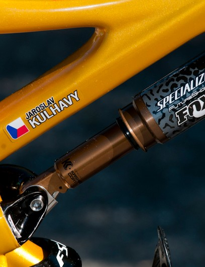 Specialized partnered with Fox for the suspension, which is triggered by the Mini-Brain inertia valve near the rear wheel
