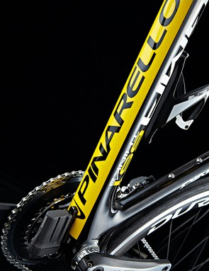 As early adopters of electronic shifting, Team Sky worked closely with Pinarello on internal cable routing