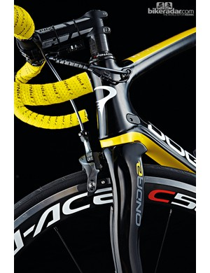 Distinct fork and seat stay shapes are a notable design feature of the Dogma 65.1 Think2
