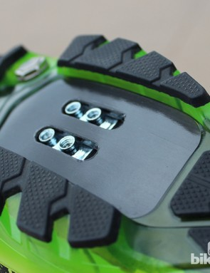 The sole is stiffest near the cleat for pedaling efficiency