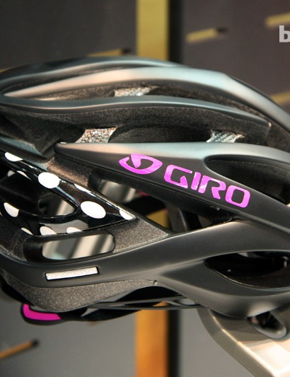 Giro's evergreen Atmos helmet will now be offered in a women's version called Amare with specific colorways such as this matte black option with magenta white polka dot accents