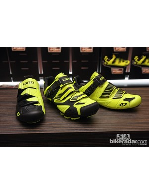 Many of Giro's cycling shoes - including the Prolight SLX, Code, and Factor models shown here from left to right - will now be offered in bright neon yellow
