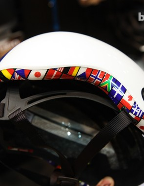 Another new Giro Reverb colorway features a ring of flags along the lower rim