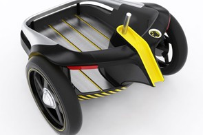 The GT Milenio QR's E-Cargo front section includes double hub-mounted motors, an integrated battery and display, and even turn signals and headlights