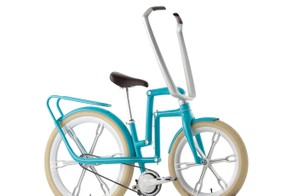 The parallelogram linkage in the Schwinn Ultimate Portable Velo's main frame allows the bike to take up a little less space on trains and inside small apartments