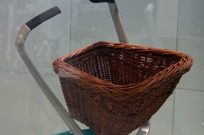A plug-in port in the front of Schwinn's Ultimate Portable Velo accepts a number of different accessories, such as the basket shown here or even a child seat