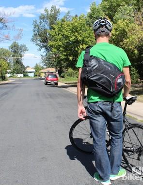 The Osaka left-shoulder strap bag is surprisingly stable on the bike