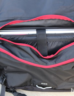 There are two interior comparments. The main compartment has a padded laptop sleeve