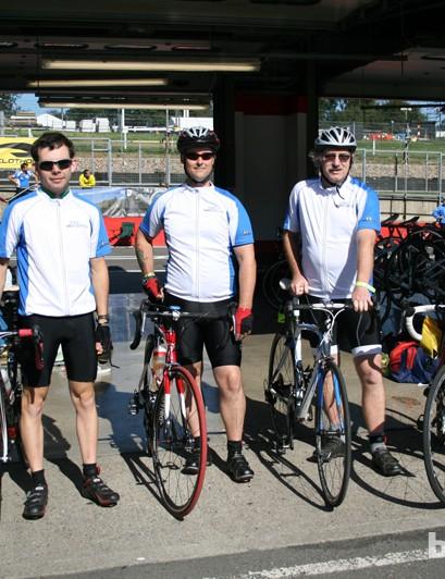 Team BikeRadar prepare for action: (from left) Chris Holliday, Dean Webb, Bob Scarle, John Whitney