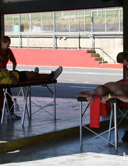 The masseurs were kept busy throughout the day. Racing had barely begun when this photo was taken