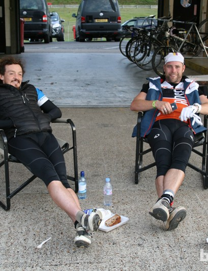 Round-the-world record holder Mike Hall (left) enjoying some down time in the Rose Bikes garage
