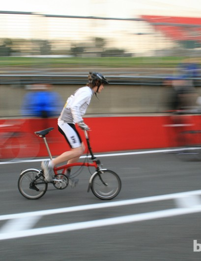 It wasn't all time trial and racing bikes, as this Brompton rider demonstrated